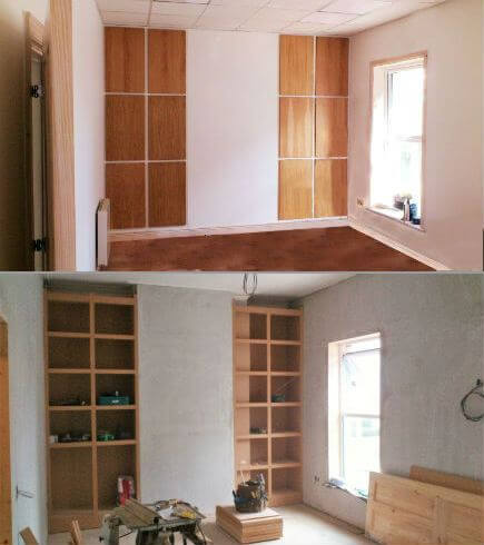 carpenter dublin for storage solutions for modern living, this is two flush to wall alcove units, with shelving and oak doors.