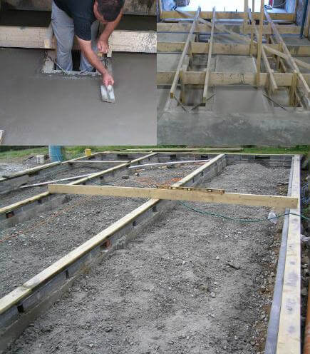 Three images in one of concrete forming and concrete finising and one of a concrete foundation with the rising walls built.