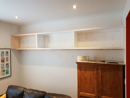 Very strong solid pine shelving, 3 meters long and 300mm wide.  Designed to carry the weight of large books.