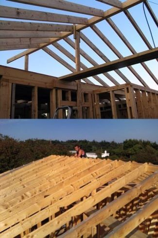 all roofing rafters are in place for this open to roof ridge dwelling. the rafters are 6 x 2 timbers, placed at 400mm centres