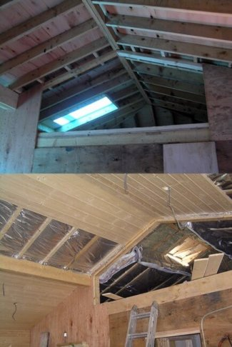 the roof , interior walls and exterior walls, have been shear walled. This method of construction requires attaching sheets of plywood to the timberframe, with a minimum thickness 15mm. the plywood is nailed off with a designated nail structure.