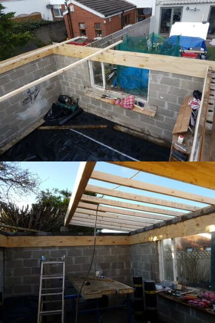 Before work could begin on the flat roof, a ring beam needed to be formed using plywood, reinforced with steel and filled with concrete. To make the building structurally sound.