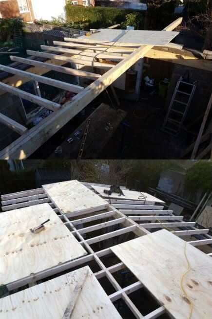 Now the walls are strengthened and to height, the framework for the new flat roof can begin. Firstly the overlong Ridge beam is set in place with the correct fall built beneath it. One inch per foot in this case. The rafters are cut to size and spaced on 16 inch centres, catching all edges of the plywood sheathing.