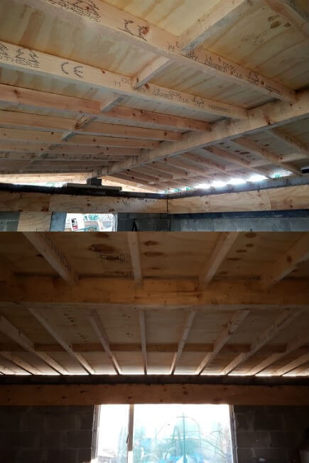 The timber bridging(or blocking) is spaced at 4 feet on centre catching the other edge of the plywood whilst preventing the rafters from twisting. A small space has been left between the ridge beam and plywood for the circulation of air after the ceiling is in place.