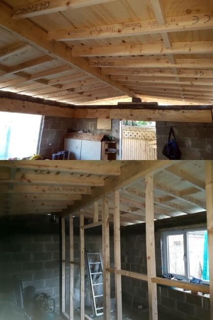 The ridge beam was placed square from the front of the structure, exactly where the partition wall was to divide the rooms. With the old structure being way off square, the back half of the roof is cut to the angle it runs on. The new partition wall offers more strength to the flat roof.