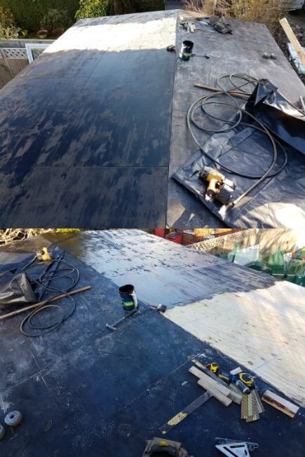 The flat roof covering, begins with a bitumen primer, then a 3mm torch on, roll out bitumen felt. Followed by a 5mm torch on, roll out bitumen felt finished in mineral. A choice of mineral colours are available. Done properly this finish can last up to thirty years with a small amount of maintenance.