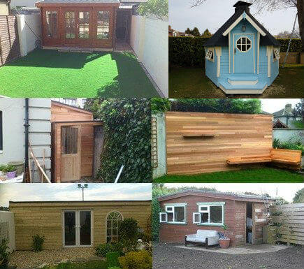 Garden rooms, garden cabins, garden sheds and garden decking are in this image. Garden rooms are a great way of creating more living space without the need of planning permissions. Great as an office space, playroom, utility room or relaxation room.