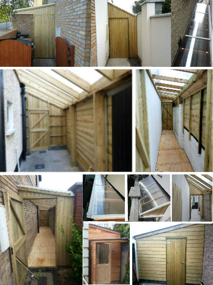 Click on the button below to view some more lean to sheds built to measure available space.  Many shapes and styles.