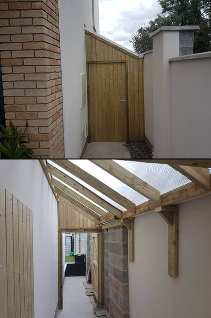 This lean to shed covers over the side passage using polycarbonate twin wall sheathing. This polycarbonate sheeting is also uv protected with a ten year guarantee, which prevents yellowing, not like other pvc products. All accessories also accompany this roof to hold it down firm and tidy. Hidden gutters are fitted on this style of roof to carry water to the closest drain.