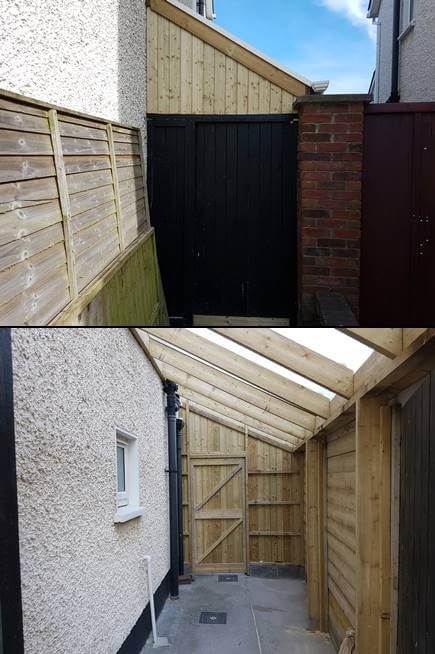 All timber used in the wood shed is pressure treated. This protects the wood from rot and insect infestation. This wood shed is built to the property line. The original fence panels have been replaced with 6x2 treated lumber, for added security. The gutter reaches the property line also, with a filler piece below, to maximize the space inside.