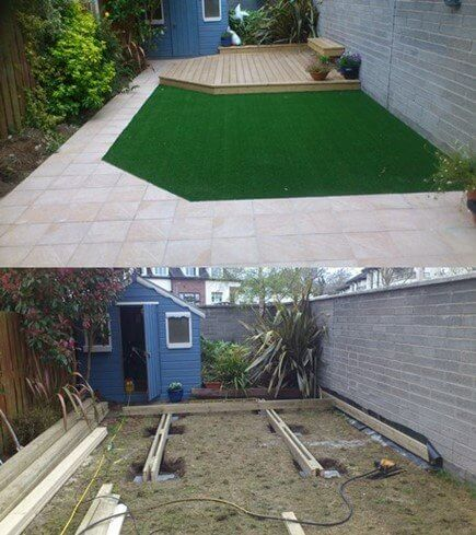 The before image of an average garden, and the after photo of a maintenance free garden. New garden decking, tiling and artificial grass.