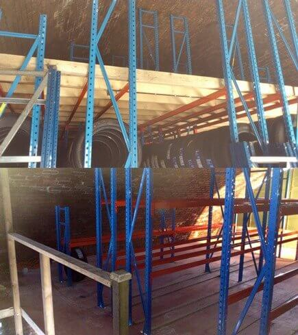 This mezzanine floor is built on, and supported by the racking. The racking layout from below also continues on the new mezzanine floor. Both floors are now neatly shelved using the same racking tiers twice.