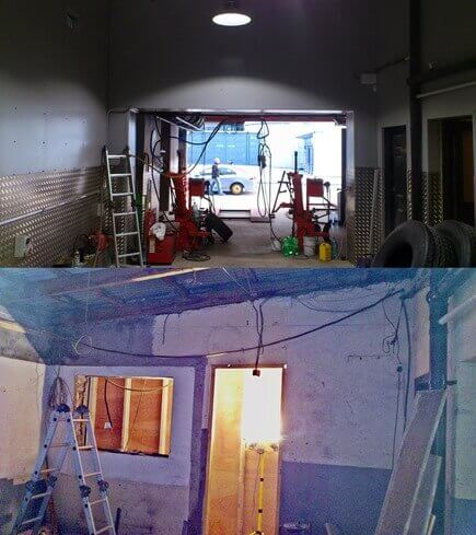 An opening made through a load bearing wall, using a rsj(reinforced steel joist) to support the load bearing wall above. This image shows the existing wall with a window and door opening, before acro supports have been placed. Also an after installation image of the load bearing wall, framed in timber studding and finished in aluminunum powder coat sheathing.