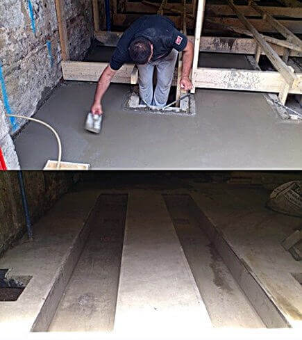 The curing concrete being floated by hand, most of the floor area was power floated. Some places close to the forms needed to be done by hand
