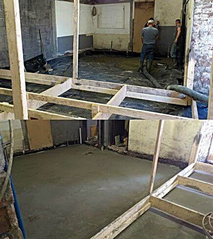 The floor area to one side of the scissor ramp, before and after the concrete has been poured