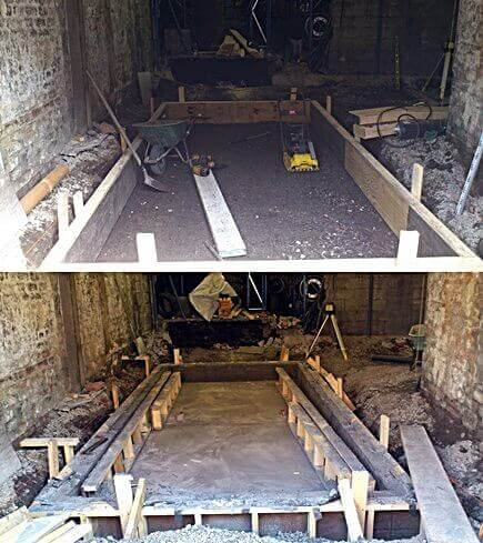 The first concrete form of the scissor ramp being framed and another image after the concrete has been poured an the concrete forms are being removed. Revealing an eighteen foot by ten foot concrete basin.