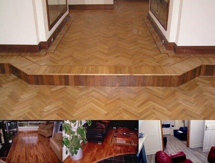 Wooden Flooring image with four different floors. Parquet flooring, solid wood flooring, engineered flooring and laminate flooring