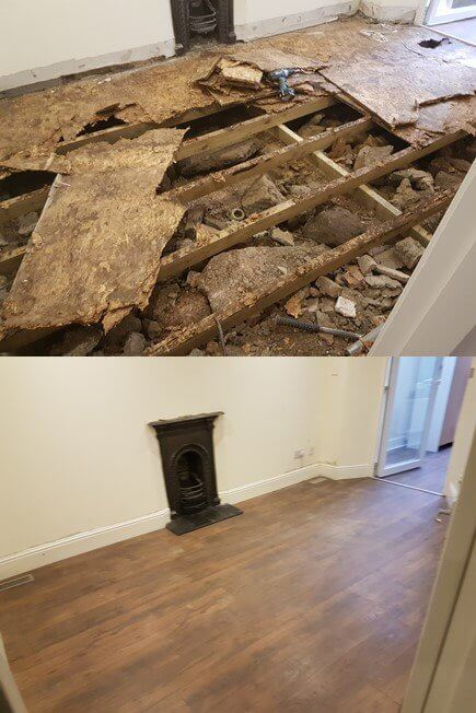 This is the last thing you want to see, when you lift the carpet, or laminate flooring. The sub floor has completely rotted, due to bad or no ventilation underfloor. Mac Carpentry has carpenters in Dublin to repair the entire floor. We can install new vents, new floor joists, insulation, damp courses and plywood sheeting or floor boards to finish the sub floor.