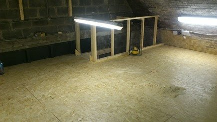 This floor was finished in 18mm osb smart ply,  the plywood is fixed to 150mm x 45mm timber joists, lay-out at 400mm centres, with a 3mm expansion gap between sheets