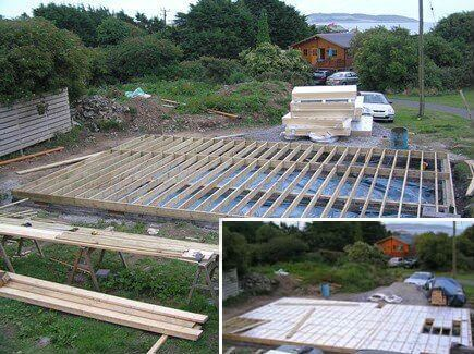 The framing for sub floor of timber frame home before and after 100mm thermo-board insulation was added.
