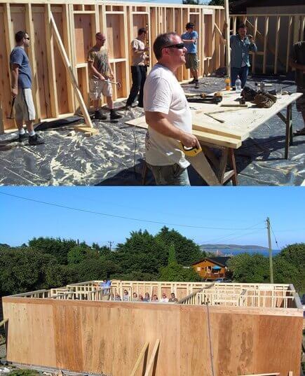 The timber framed walls have been framed to size, and are all lifted and fixed in place. The second image shown is of all exterior and interior walls erected and fixed. The timber frame house is now ready for the roof construction.
