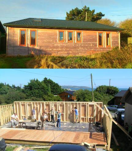 the before and after of a timber frame house. Carpenters in dublin erecting the walls of a timber frame house that was built by mac carpentry.